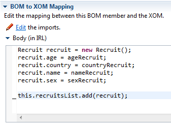 BOM to XOM mapping logic sample