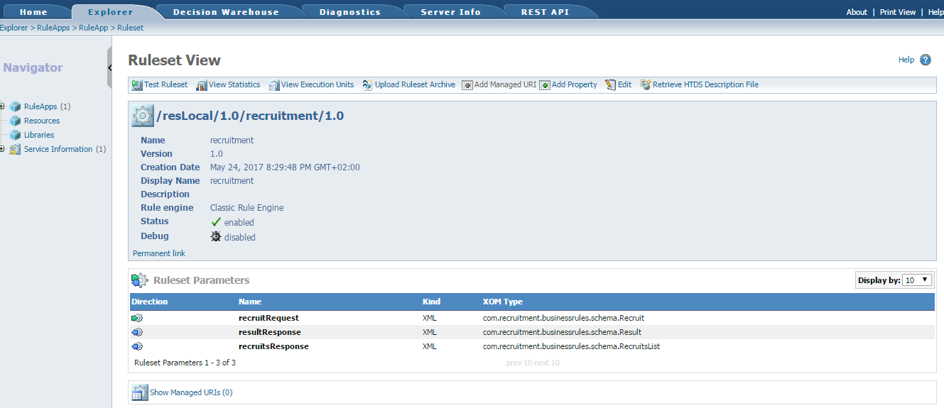 IBM ODM RES Ruleset view sample