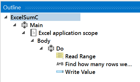 RPA UiPath Excel Third Method Outline